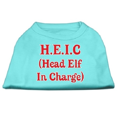 Head Elf In Charge Screen Print Pet Shirt - Aqua | The Pet Boutique