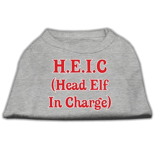 Head Elf In Charge Screen Print Pet Shirt - Grey | The Pet Boutique
