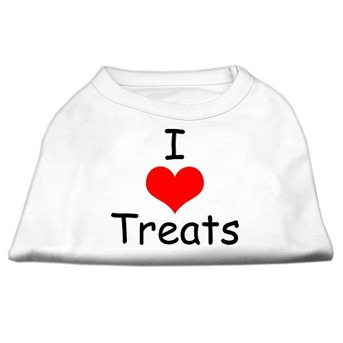 I Love Treats Screen Print Pet Shirt - White   The Pet Boutique