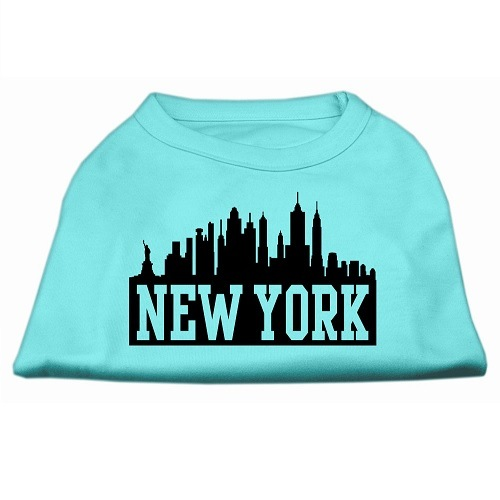 New York Skyline Screen Print Pet Shirt - Aqua | The Pet Boutique
