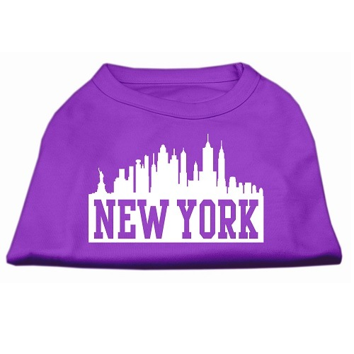 New York Skyline Screen Print Pet Shirt - Purple | The Pet Boutique