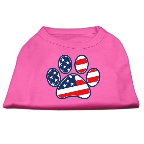 Patriotic Paw Screen Print Dog Shirt - Bright Pink | The Pet Boutique
