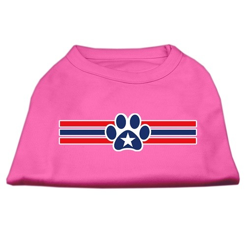 Patriotic Star Paw Screen Print Pet Shirt - Bright Pink | The Pet Boutique