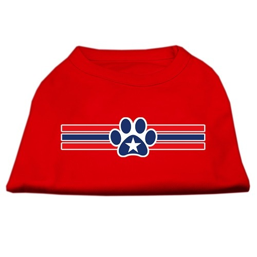 Patriotic Star Paw Screen Print Pet Shirt - Red | The Pet Boutique