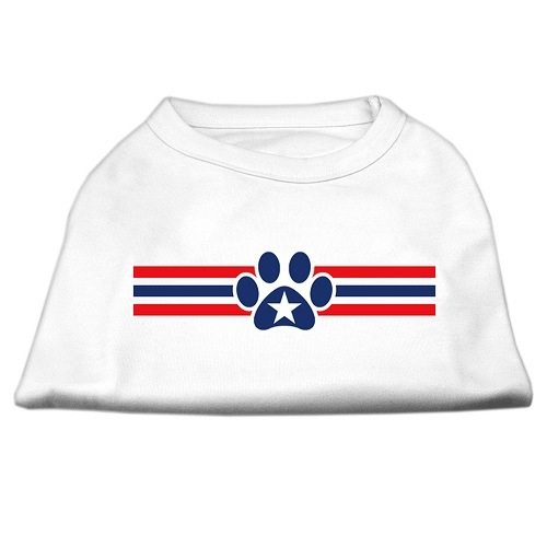 Patriotic Star Paw Screen Print Pet Shirt - White | The Pet Boutique