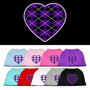 Purple Argyle Heart Screen Print Pet Shirt | The Pet Boutique