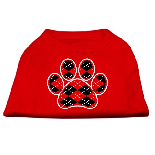 Red Argyle Paw Screen Print Pet Shirt - Red | The Pet Boutique