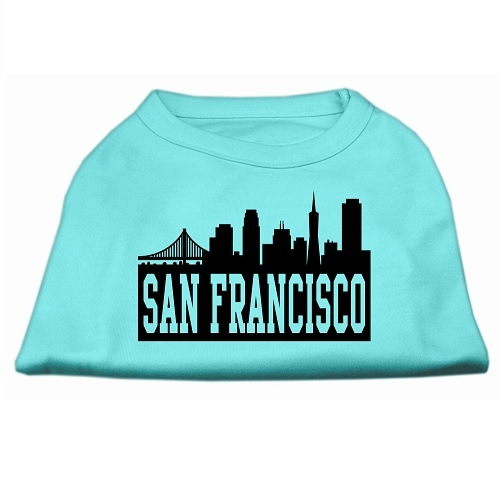 San Francisco Skyline Screen Print Pet Shirt - Aqua | The Pet Boutique