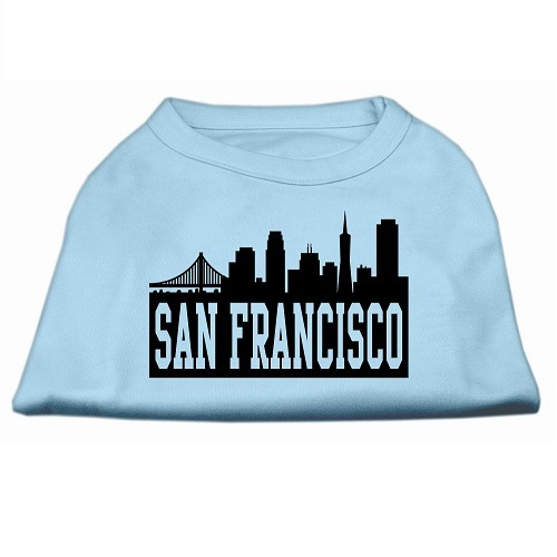 San Francisco Skyline Screen Print Pet Shirt - Baby Blue | The Pet Boutique