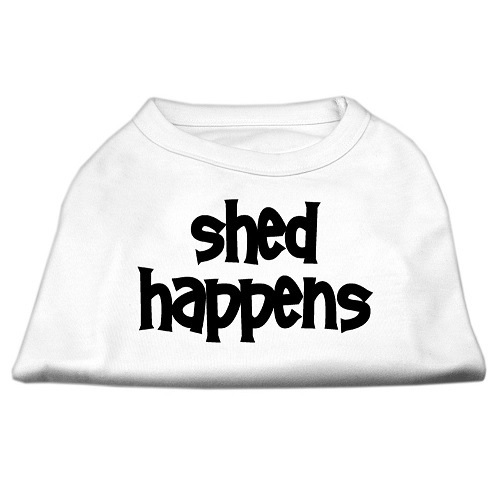 Shed Happens Screen Print Pet Shirt - White | The Pet Boutique