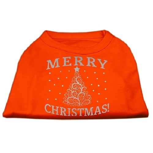 Shimmer Christmas Tree Screen Print Pet Shirt - Orange | The Pet Boutique