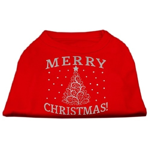 Shimmer Christmas Tree Screen Print Pet Shirt - Red | The Pet Boutique