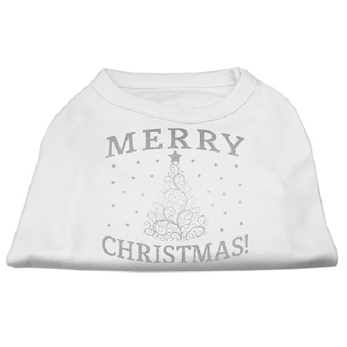 Shimmer Christmas Tree Screen Print Pet Shirt - White | The Pet Boutique