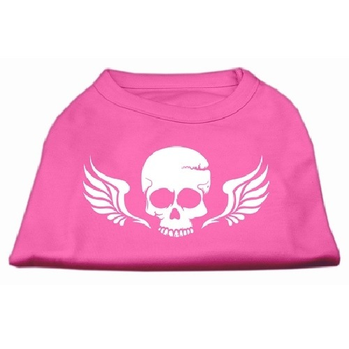 Skull and Wings Screen Print Pet Shirt - Bright Pink | The Pet Boutique