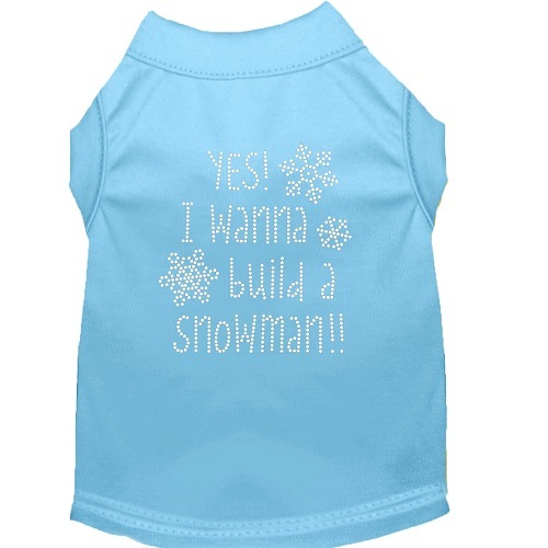 Yes! I Wanna Build A Snowman Rhinestone Dog Shirt - Baby Blue | The Pet Boutique