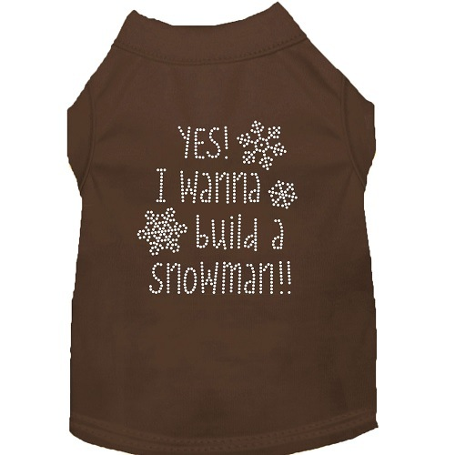 Yes! I Wanna Build A Snowman Rhinestone Dog Shirt - Brown | The Pet Boutique