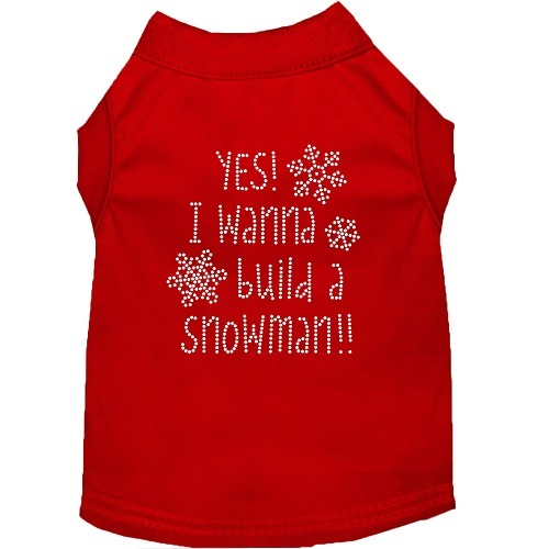 Yes! I Wanna Build A Snowman Rhinestone Dog Shirt - Red | The Pet Boutique