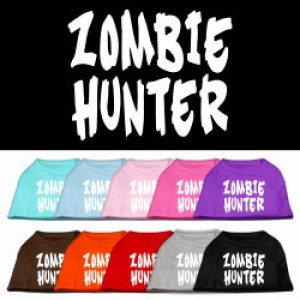 Zombie Hunter Screen Print Pet Shirt | The Pet Boutique