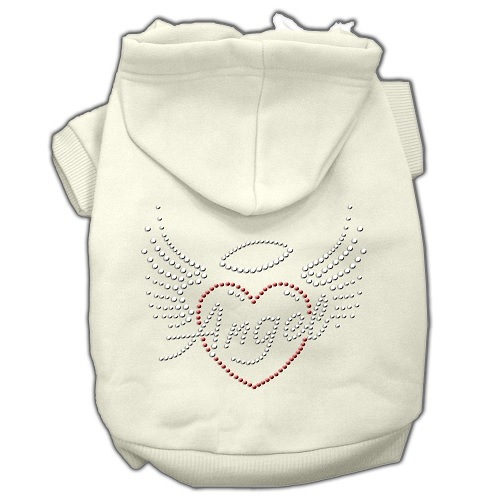 Angel Heart Rhinestone Pet Hoodie - Cream | The Pet Boutique
