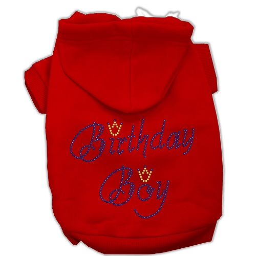 Birthday Boy Rhinestone Pet Hoodie - Red | The Pet Boutique