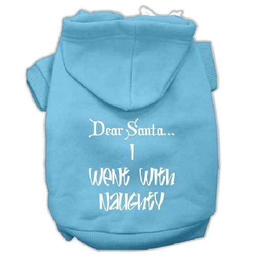 Dear Santa I Went with Naughty Screen Print Pet Hoodie - Baby Blue | The Pet Boutique