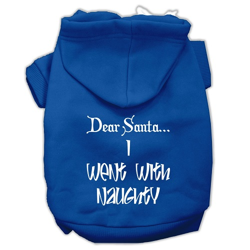 Dear Santa I Went with Naughty Screen Print Pet Hoodie - Blue | The Pet Boutique