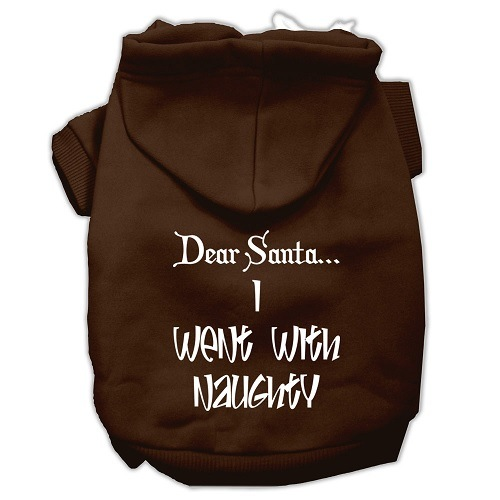Dear Santa I Went with Naughty Screen Print Pet Hoodie - Brown | The Pet Boutique