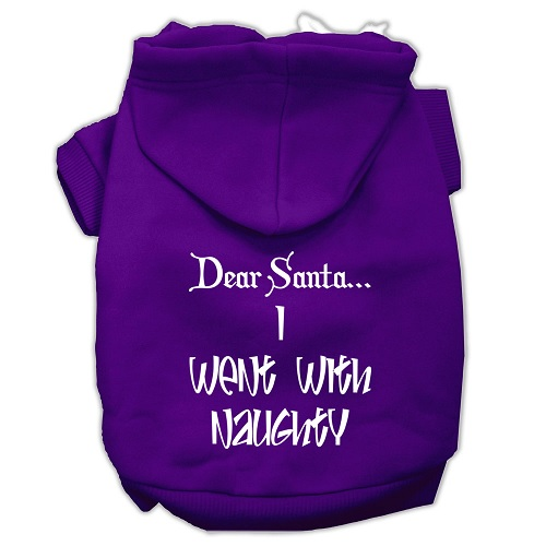 Dear Santa I Went with Naughty Screen Print Pet Hoodie - Purple | The Pet Boutique