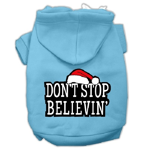 Don't Stop Believin' Screen Print Pet Hoodie - Baby Blue | The Pet Boutique
