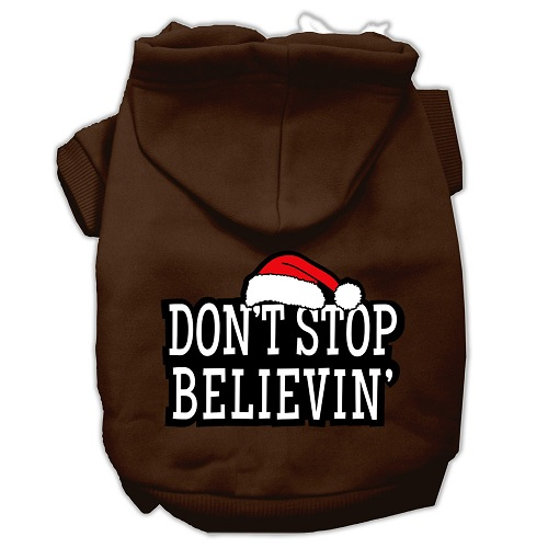Don't Stop Believin' Screen Print Pet Hoodie - Brown | The Pet Boutique