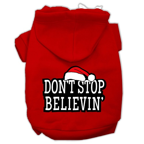 Don't Stop Believin' Screen Print Pet Hoodie - Red | The Pet Boutique