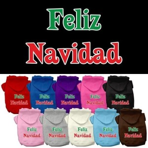 Feliz Navidad Screen Print Pet Hoodie | The Pet Boutique