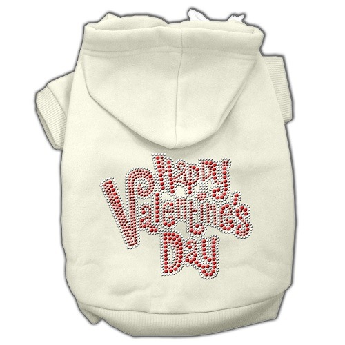 Happy Valentine's Day Rhinestone Pet Hoodie - Cream | The Pet Boutique