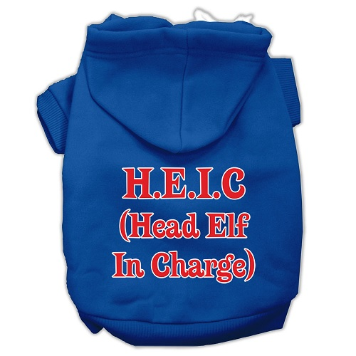Head Elf In Charge Screen Print Pet Hoodie - Blue | The Pet Boutique