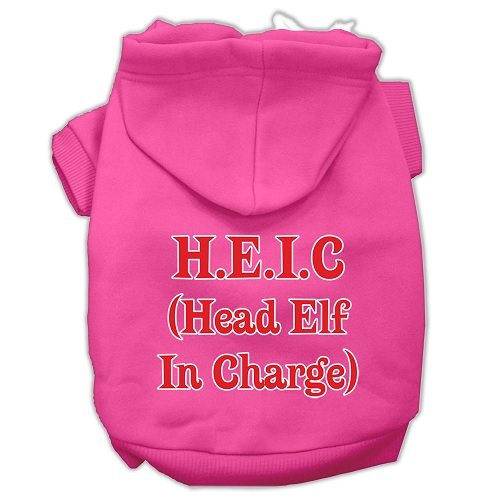 Head Elf In Charge Screen Print Pet Hoodie - Bright Pink | The Pet Boutique