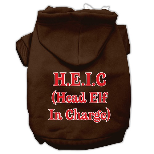 Head Elf In Charge Screen Print Pet Hoodie - Brown | The Pet Boutique