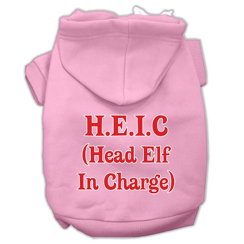 Head Elf In Charge Screen Print Pet Hoodie - Light Pink | The Pet Boutique