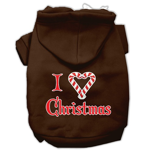 I Heart Christmas Screen Print Pet Hoodie - Brown | The Pet Boutique