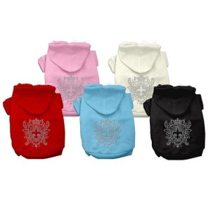 Rhinestone Fleur de Lis Shield Pet Hoodie | The Pet Boutique
