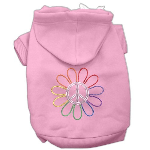 Rhinestone Rainbow Flower Peace Sign Pet Hoodie - Pink | The Pet Boutique