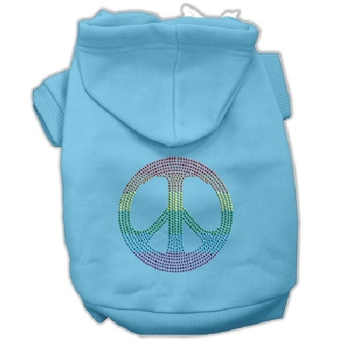 Rhinestone Rainbow Peace Sign Pet Hoodie - Baby Blue   The Pet Boutique