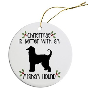 Round Christmas Ornament - Afghan Hound | The Pet Boutique