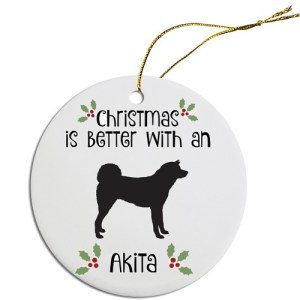 Round Christmas Ornament - Akita | The Pet Boutique