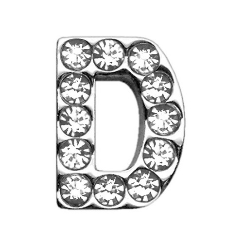 18mm Clear Crystal Letter Sliding Collar Charm - D | The Pet Boutique