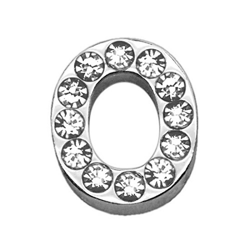 18mm Clear Crystal Letter Sliding Collar Charm - O | The Pet Boutique