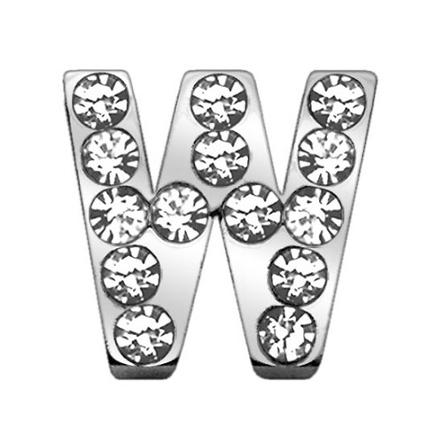 18mm Clear Crystal Letter Sliding Collar Charm - W | The Pet Boutique