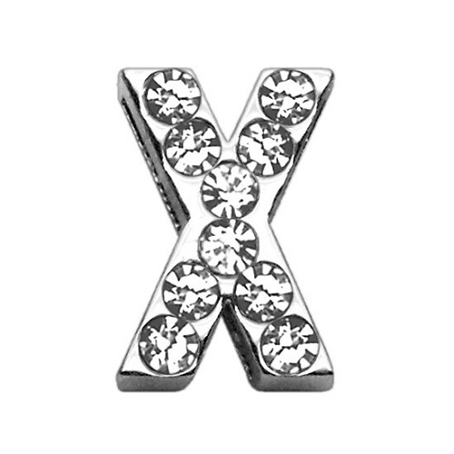 18mm Clear Crystal Letter Sliding Collar Charm - X | The Pet Boutique