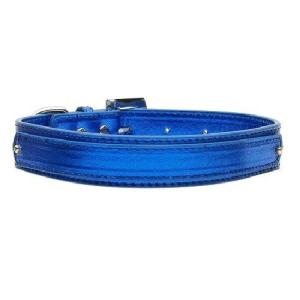 18mm Metallic Two-Tier Dog Collar - Blue | The Pet Boutique