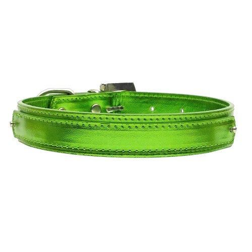 18mm Metallic Two-Tier Dog Collar - Lime Green | The Pet Boutique