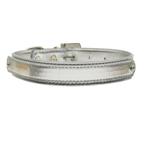18mm Metallic Two-Tier Dog Collar - Silver | The Pet Boutique